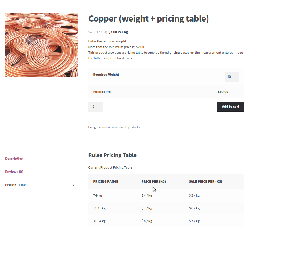 9. pricing table