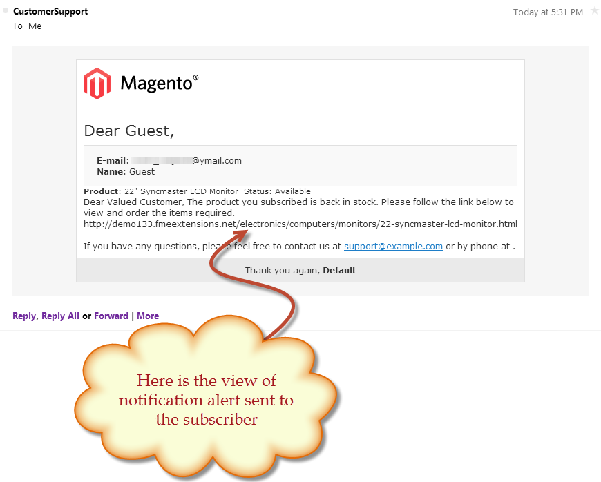 Magento Out Of Stock Notification Product Subscription Email